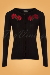 50s Faith Poppy Cardigan in Black