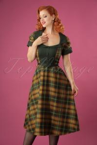 40s Ella Swing Dress in Green Tartan