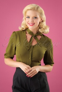 40s Katherine Blouse in Olive Green