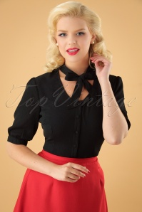 40s Katherine Blouse in Black