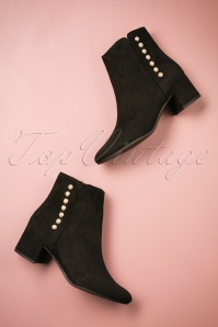 60s Pearl Ankle Booties in Black