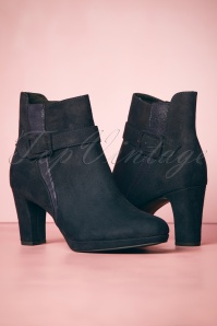 50s Jocelyn Suedine Ankle Booties in Navy