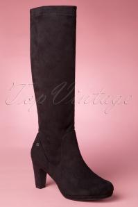 60s Priscilla High Suedine Boots in Black