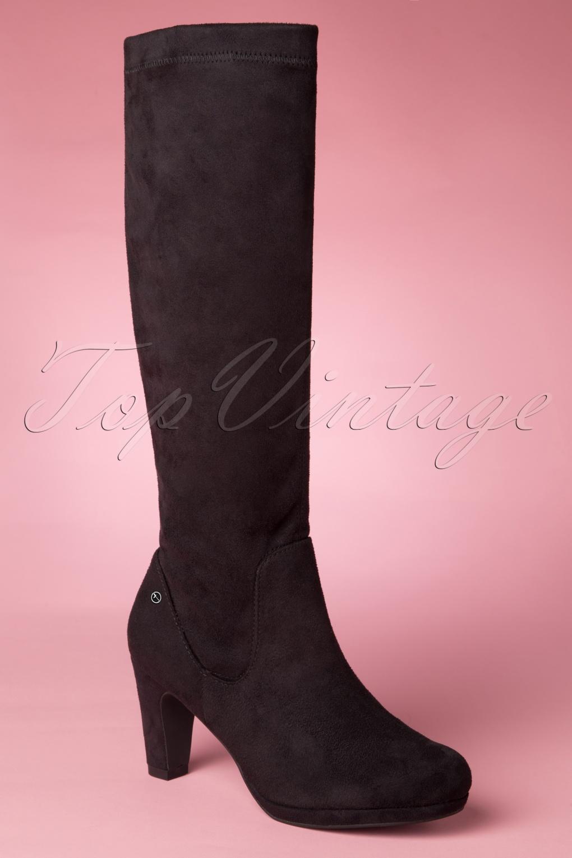 Retro Boots, Granny Boots, 70s Boots 60s Priscilla High Suedine Boots in Black £71.16 AT vintagedancer.com