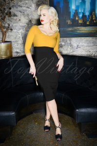 Glamour Bunny 60s Christie Pencil Dress in Black and Yellow