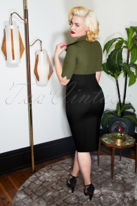 Glamour Bunny Lexy Pencil Dress in Green and Black 25751 20180621 0013W