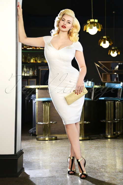 Glamour Bunny Ruby Pencil Dress in White 25760 20180622 01W