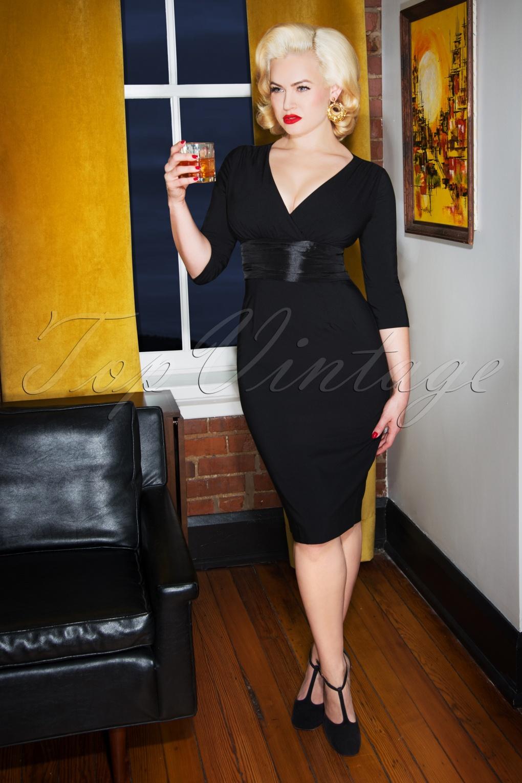 Rockabilly Dresses | Rockabilly Clothing | Viva Las Vegas 50s Sophia Pencil Dress in Black £114.57 AT vintagedancer.com