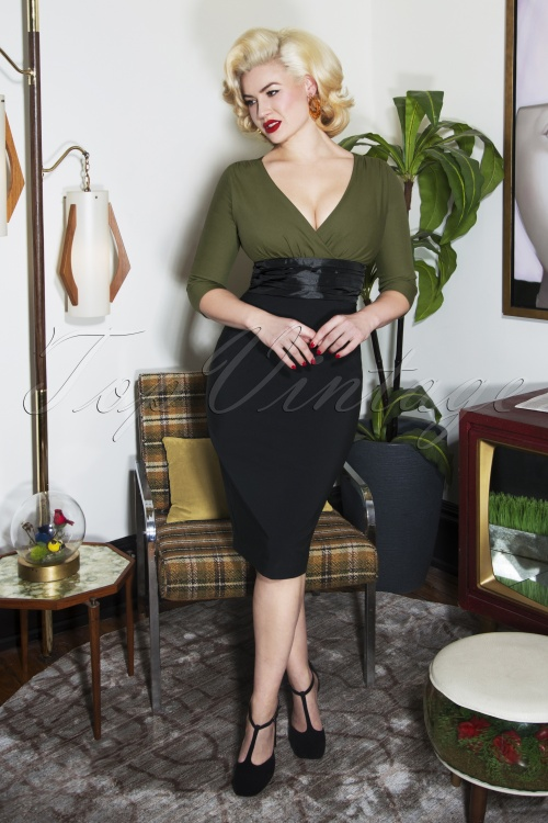 Glamour Bunny Sophia Pencil Dress in Green and Black 25763 20180625 00012w
