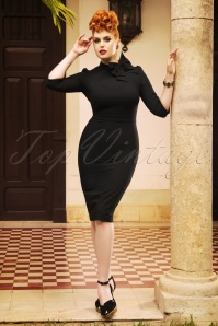 The Maxine Bow Pencil Dress in Black