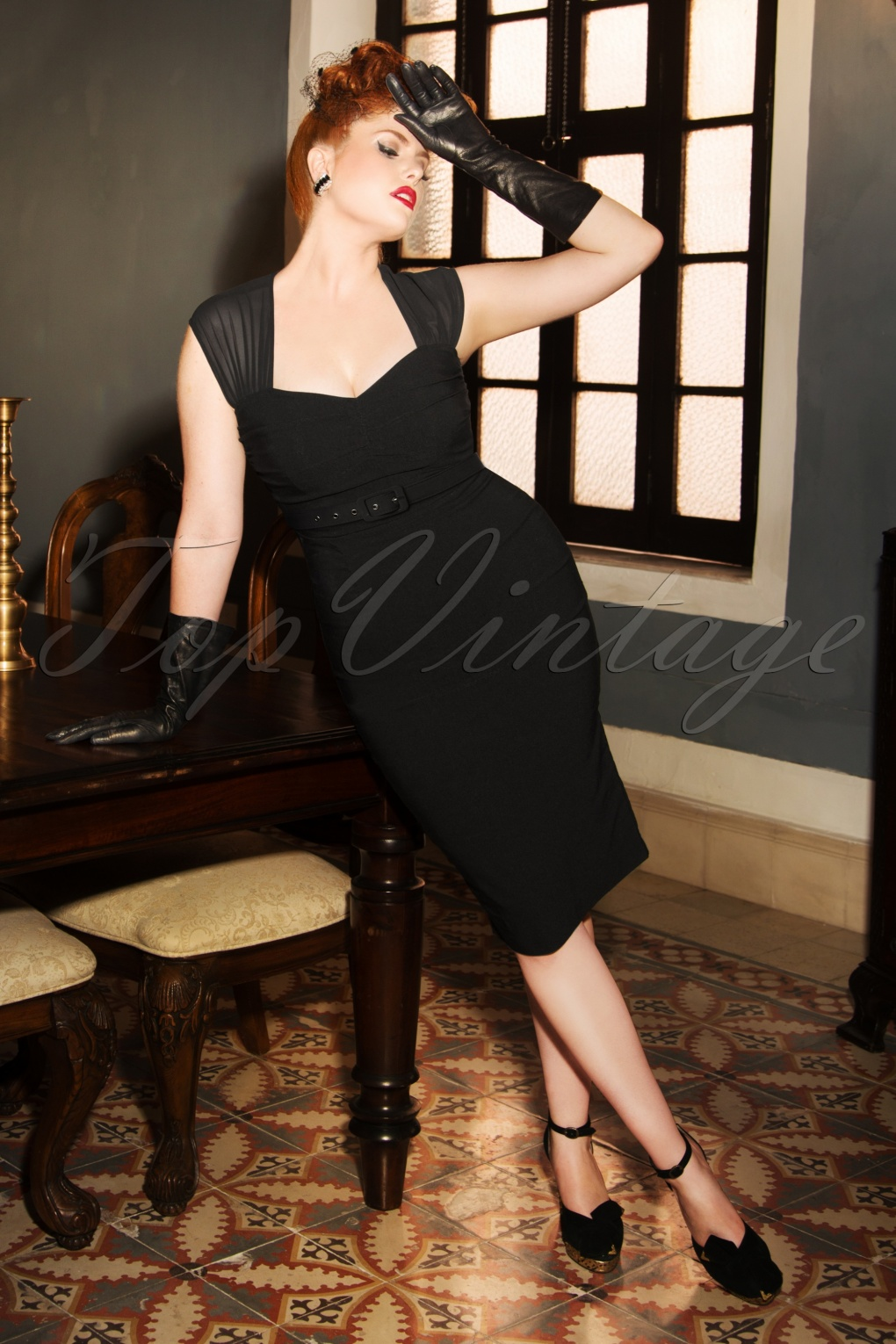 1950s Dresses, 50s Dresses | 1950s Style Dresses The Eileen Pencil Dress in Black £117.13 AT vintagedancer.com