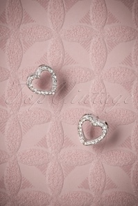 50s Sparkly Heart Stud Earrings in Silver