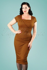 Vintage Chic Orange Gingham Pencil Dress 100 89 24767 20180227 1W
