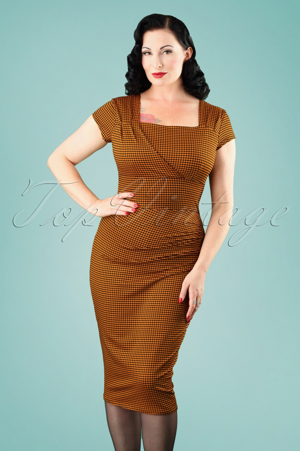 50s Laila Gingham Pencil Dress in Amber