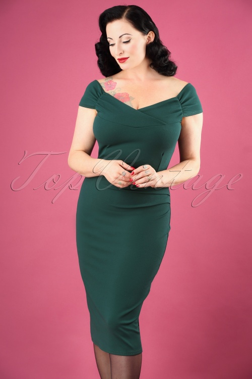 Vintage Chic Cynthia Pencil Dress in Green 100 40 26640 01W