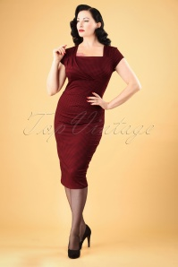 50s Laila Gingham Pencil Dress in Burgundy