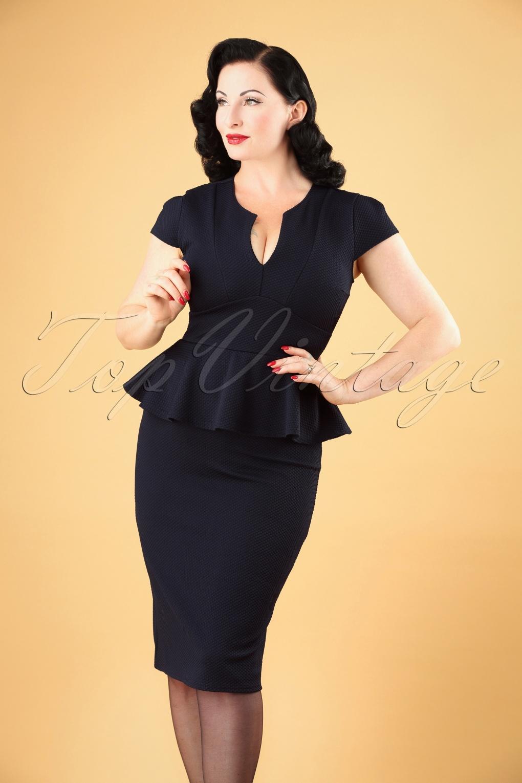 Rockabilly Dresses | Rockabilly Clothing | Viva Las Vegas 50s Carese Peplum Dress in Navy £48.16 AT vintagedancer.com