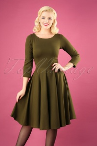 50s Ballerina Dress in Olive Green