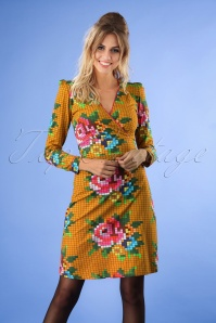 Tante Betsy Mustard Pixel Roses Dress 25434 20180726 1W