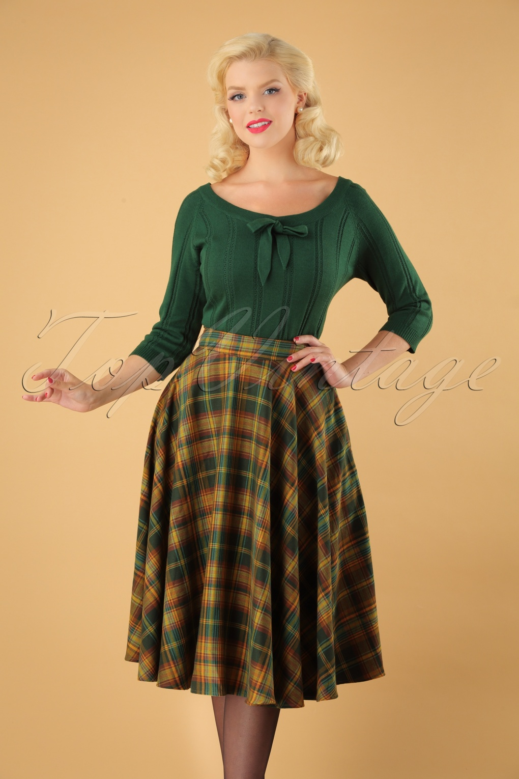 Retro Skirts: Vintage, Pencil, Circle, & Plus Sizes 40s Bridget Full Swing Skirt in Green Tartan £38.23 AT vintagedancer.com