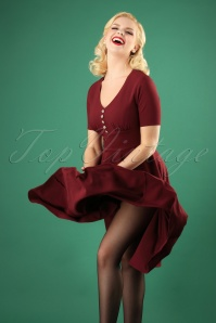 Bunny 50s Mila Swing Dress Burgundy 25836 03W