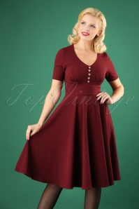 Bunny 50s Mila Swing Dress Burgundy 25836 02W