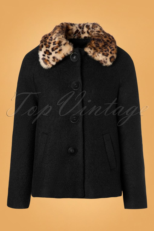 Vintage Coats & Jackets | Retro Coats and Jackets 60s Loretta Razzmataz Coat in Black £131.42 AT vintagedancer.com