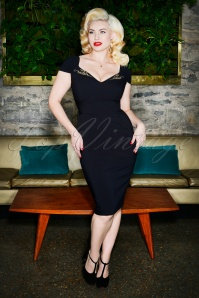 Ruby Pencil Dress Années 50 en Noir