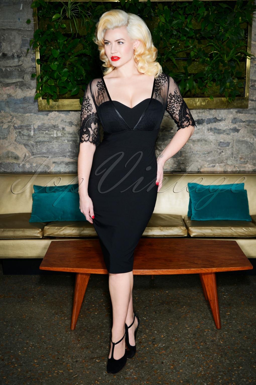1950s Prom Dresses & Party Dresses 50s Megan Pencil Dress in Black £115.11 AT vintagedancer.com