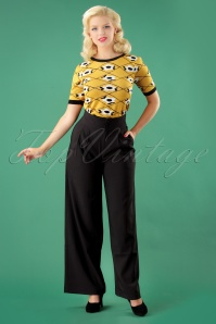 40s Charlotte Palazzo Trousers in Black