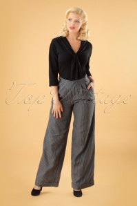 40s Pippa Palazzo Pinstripe Trousers in Grey