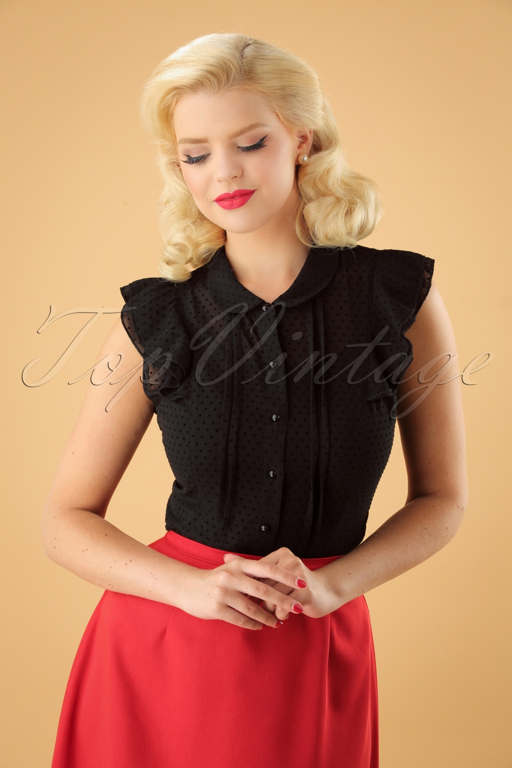 Vintage & Retro Shirts, Halter Tops, Blouses 40s Angelin Polka Flock Blouse in Black £28.52 AT vintagedancer.com