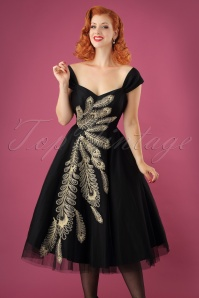 50s Scarlett Peacock Occasion Gown in Black