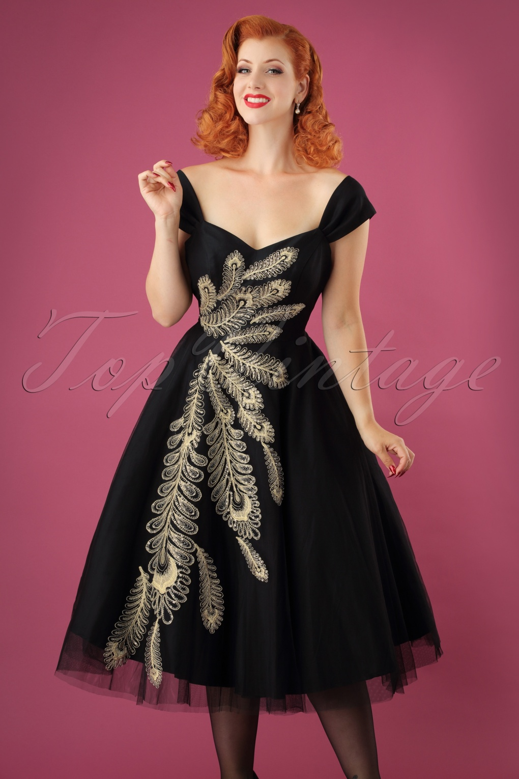 1950s Dresses, 50s Dresses | 1950s Style Dresses 50s Scarlett Peacock Occasion Gown in Black £171.21 AT vintagedancer.com