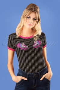 50s Roller Skate Top in Black and Pink