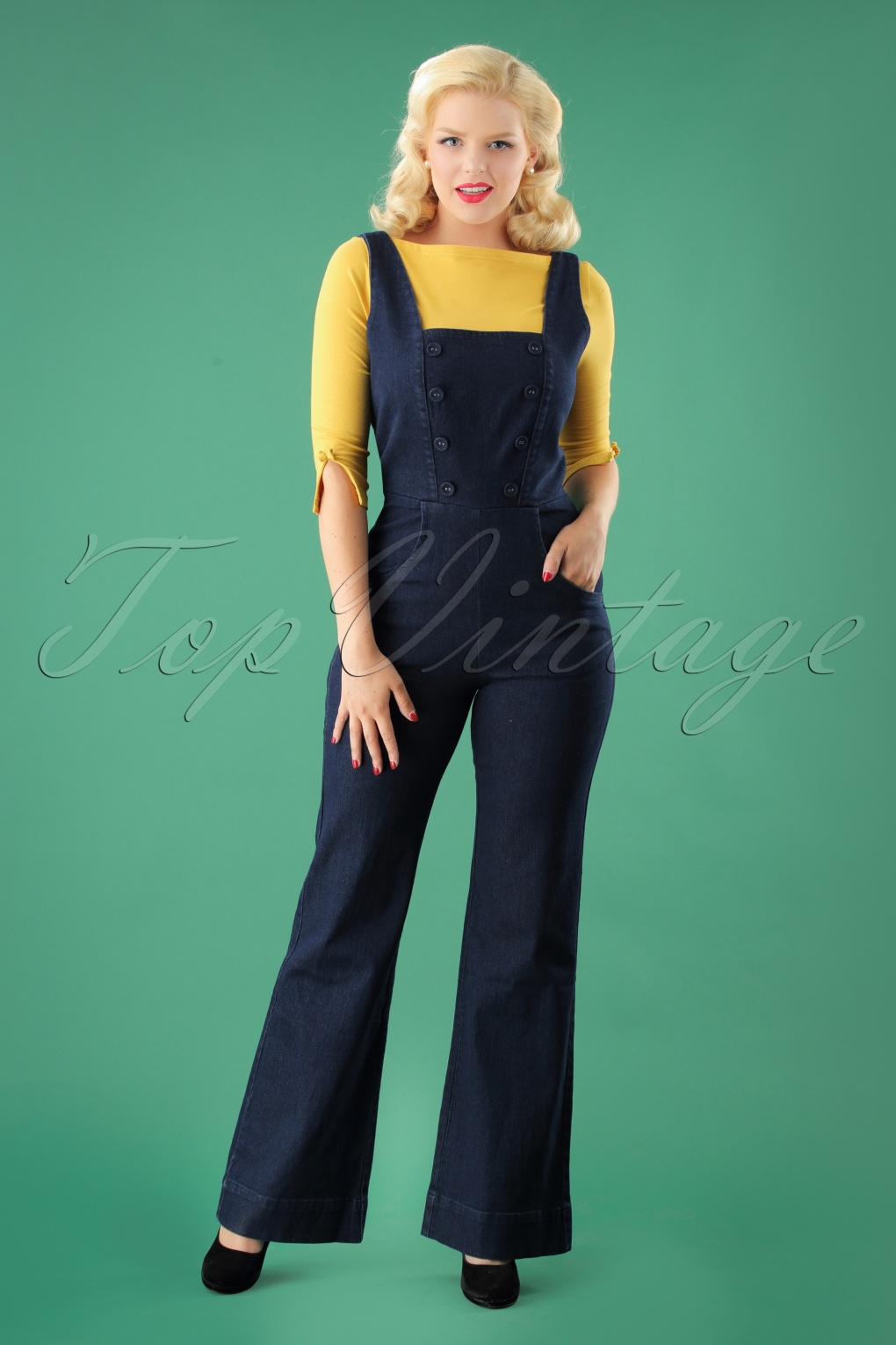 1940s Swing Pants & Sailor Trousers- Wide Leg, High Waist 40s Everly Jumpsuit in Denim £56.08 AT vintagedancer.com