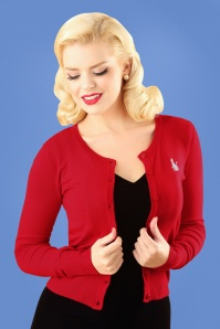 Louche  Idie Cat Cardigan in Red 140 20 25938 20180814 2