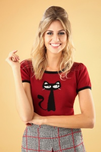 Mak Sweater Cat Sweater in Burgundy 113 20 26690 20180806 1