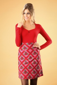 60s Square Rose Skirt in Red