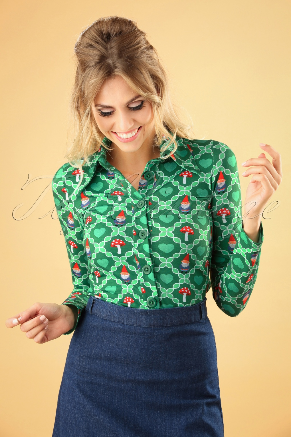60s Shirts, T-shirt, Blouses | 70s Shirts, Tops, Vests 60s Gnome Love Blouse in Green £52.54 AT vintagedancer.com