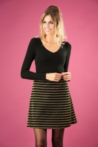 60s Nolan Im In The Mood Dress in Black and Gold