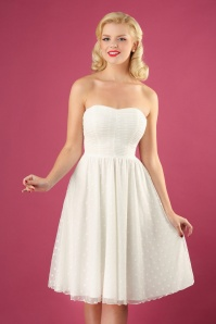 50s Winnie Special Occasion Strapless Gown in Off White
