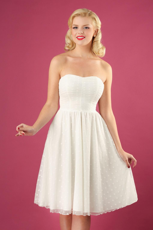 Vintage Inspired Wedding Dress | Vintage Style Wedding Dresses 50s Winnie Special Occasion Strapless Gown in Off White £102.38 AT vintagedancer.com