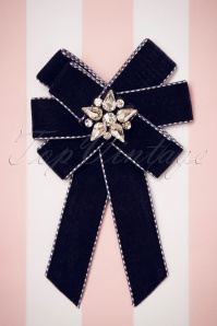 50s Velvet Bow Brooch in Navy