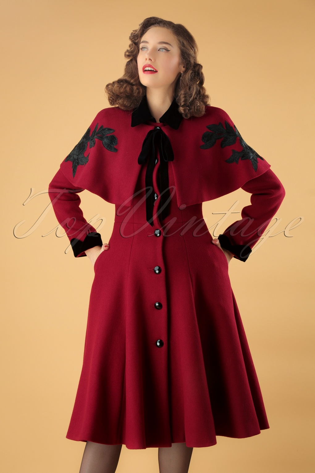 Vintage Coats & Jackets | Retro Coats and Jackets 40s Claudia Coat And Roses Cape in Burgundy Wool £197.15 AT vintagedancer.com