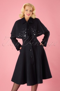40s Claudia Coat And Stars Cape in Navy Wool
