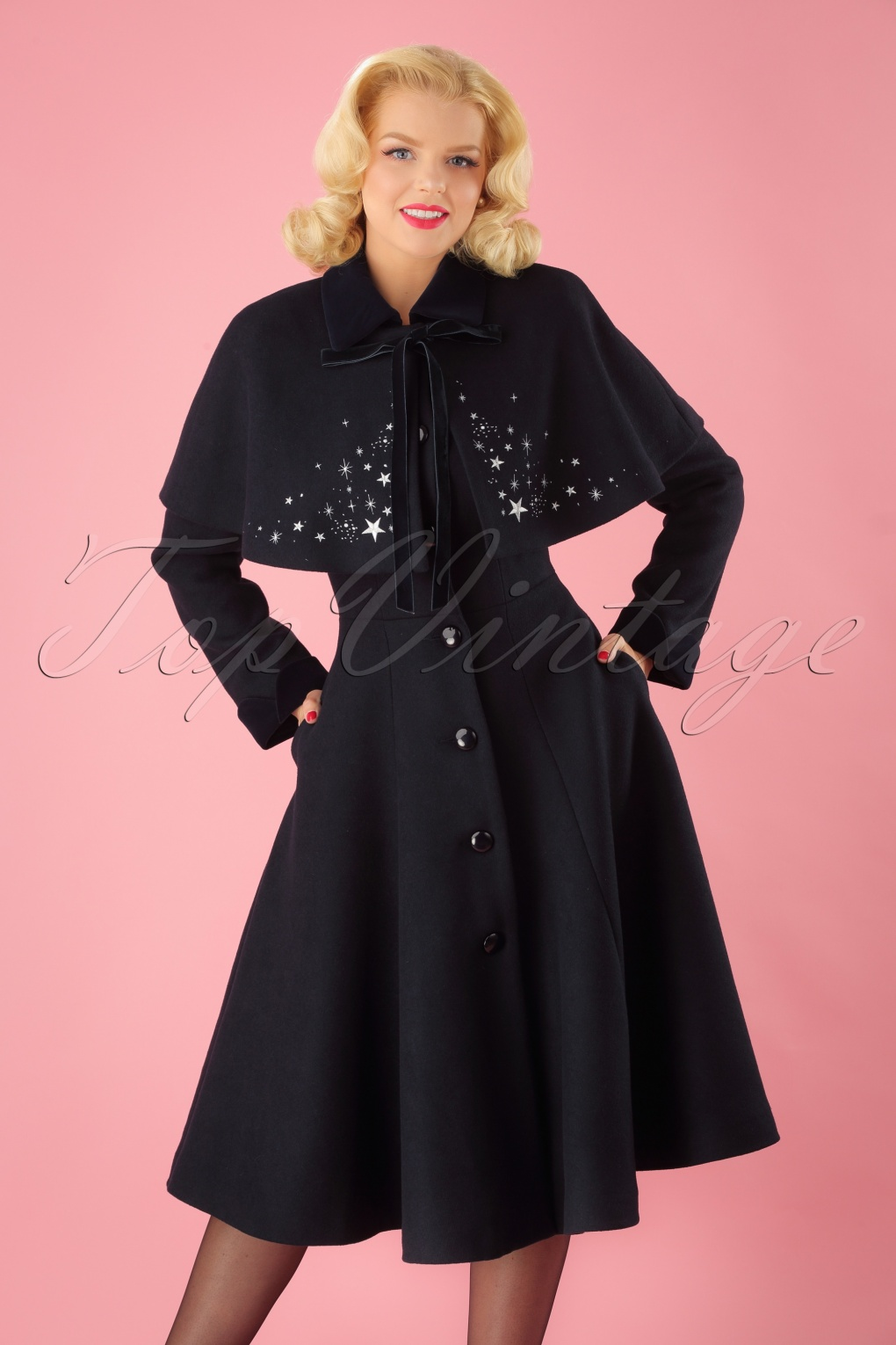 1940s Style Coats and Jackets for Sale 40s Claudia Coat And Stars Cape in Navy Wool £138.18 AT vintagedancer.com