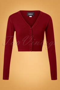 50s Kimberley Knitted Cardigan in Burgundy