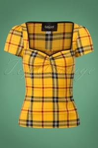 50s Mimi Clueless Check Top in Yellow