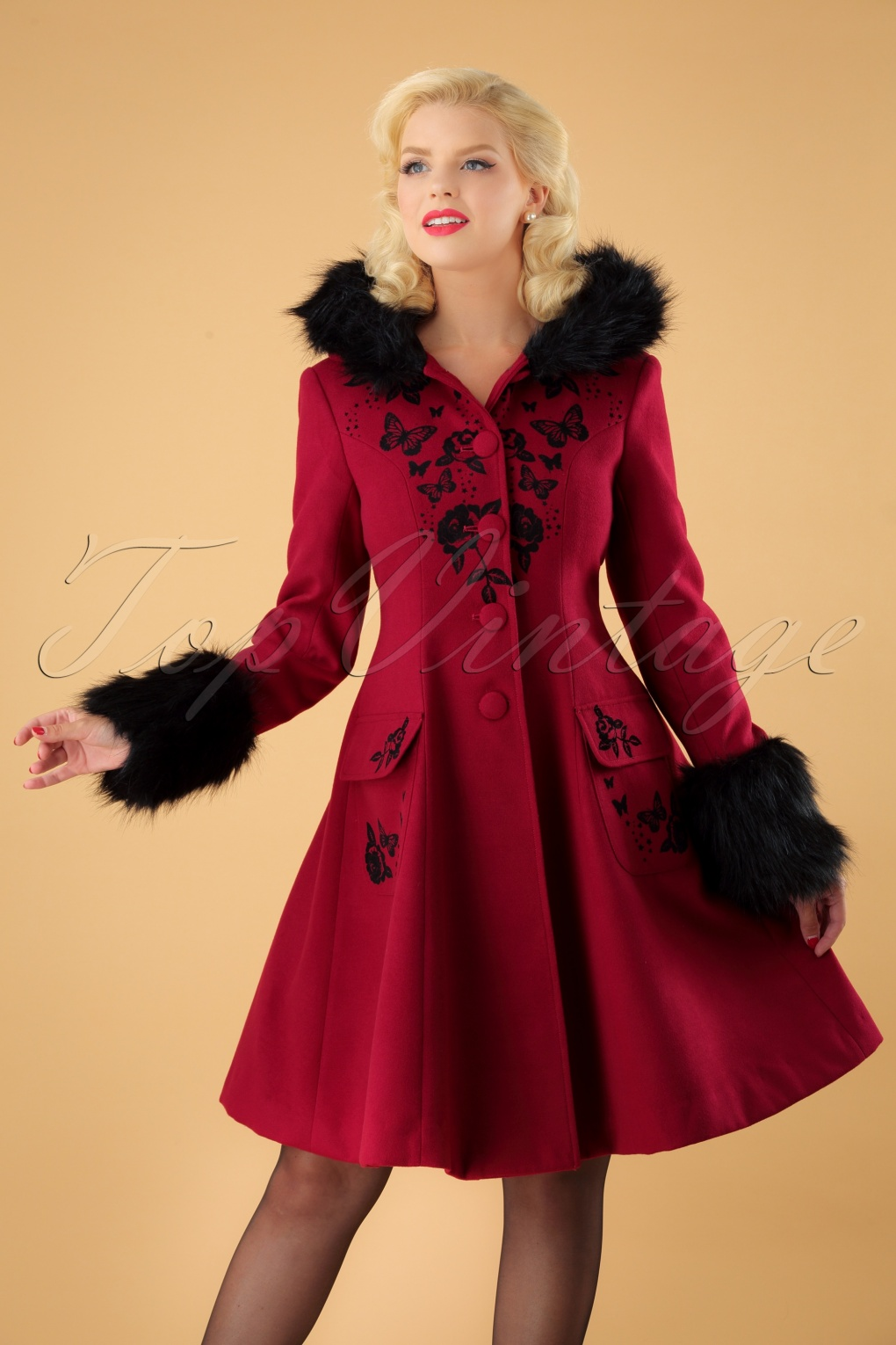 Vintage Coats & Jackets | Retro Coats and Jackets 40s Anderson Coat in Red £132.85 AT vintagedancer.com
